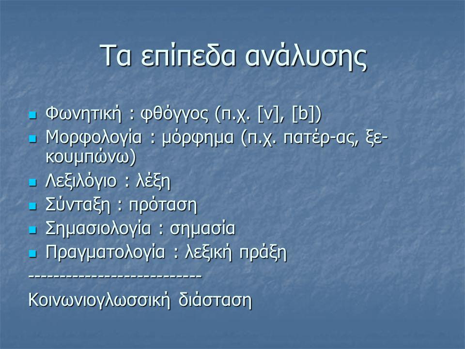 Τα επίπεδα ανάλυσης Φωνητική : φθόγγος (π.χ. [v], [b])